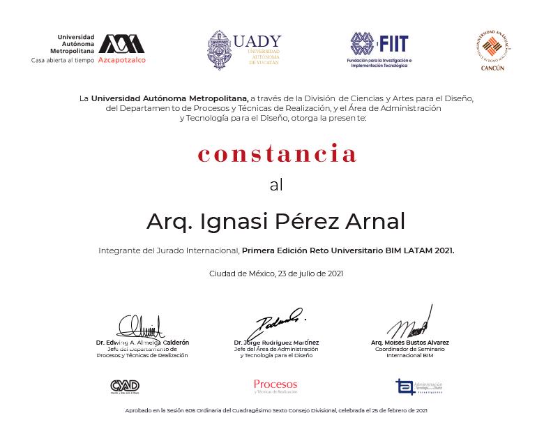 Ignasi Pérez Arnal fue jurado de la Primera Edición del Reto Universitario BIM LATAM 2021